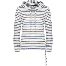 super.natural Funnel Hoodie Printed Mujer, fresh white/navy blazer fine stripe print